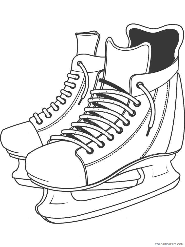 Ice Skating Coloring Pages Ice Skates 4 Printable 2021 3494 Coloring4free