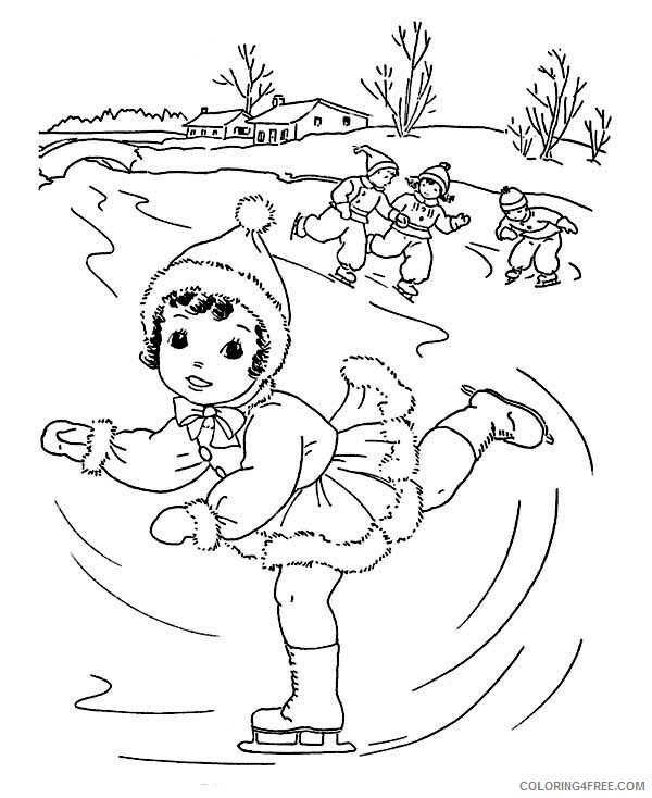 Ice Skating Coloring Pages Lovely Young Little Girl Playing Ice Skating 2021 Coloring4free