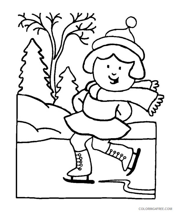 Ice Skating Coloring Pages Skillful Young Little Girl Playing Ice Skates 2021 Coloring4free