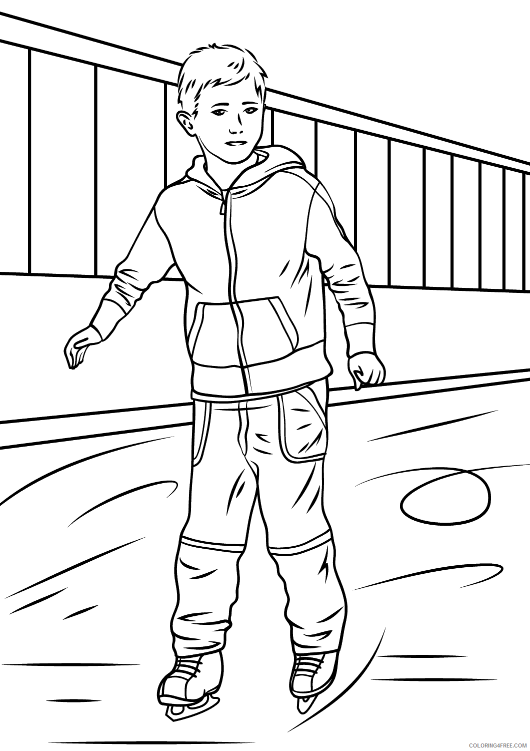 Ice Skating Coloring Pages boy ice skater Printable 2021 3490 Coloring4free