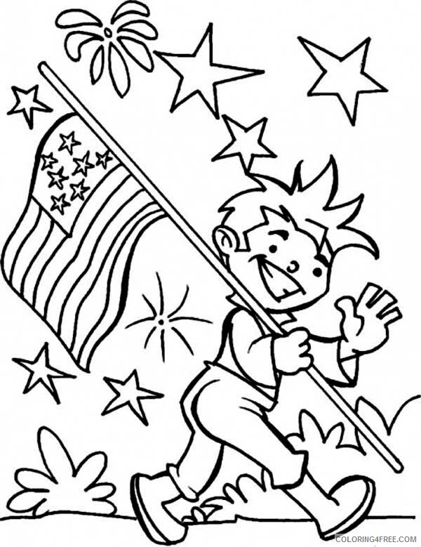 Independence Day Coloring Pages Carrying United States Flag Celebration 2021 Coloring4free