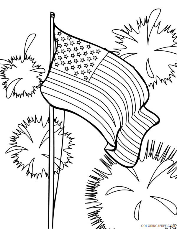 Independence Day Coloring Pages Flag and Fireworks Celebration Printable 2021 Coloring4free