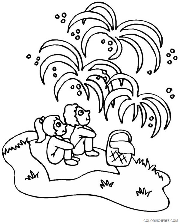 Independence Day Coloring Pages Kids Watching Fireworks Celebration Print 2021 Coloring4free