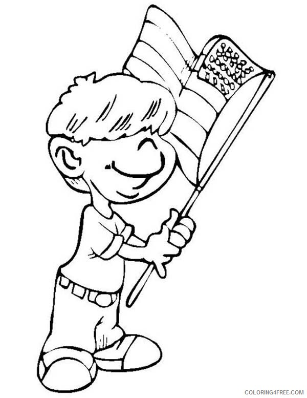 Independence Day Coloring Pages Little Kid Waving Flag Celebration Printable 2021 Coloring4free