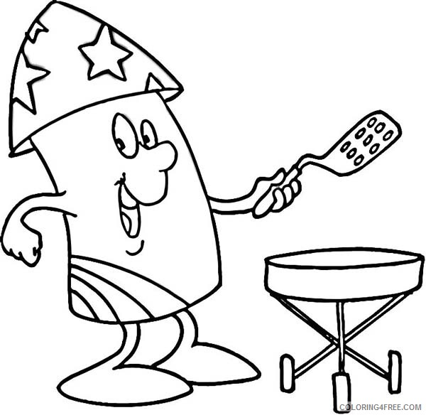 Independence Day Coloring Pages Mr Firework Cooking Celebration Printable 2021 Coloring4free