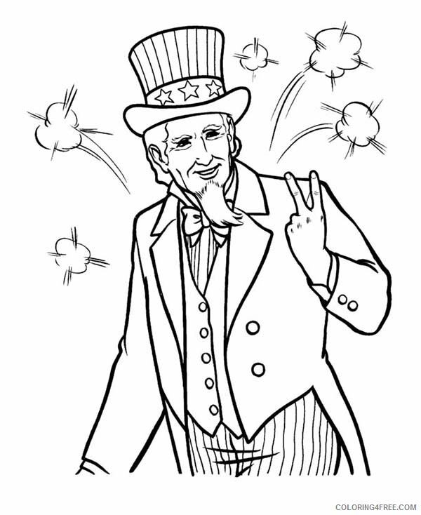 Independence Day Coloring Pages Picture of Uncle Sam Celebration Printable 2021 Coloring4free