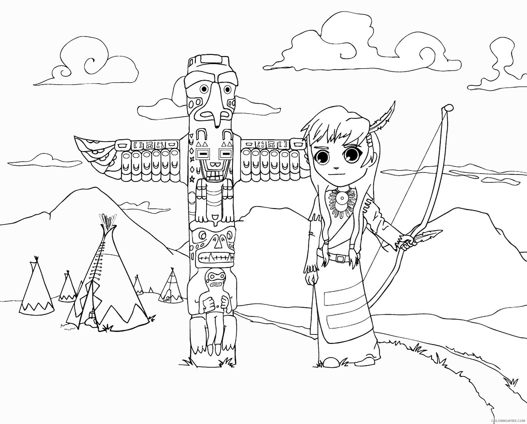 Indian Coloring Pages indians_07 Printable 2021 3545 Coloring4free