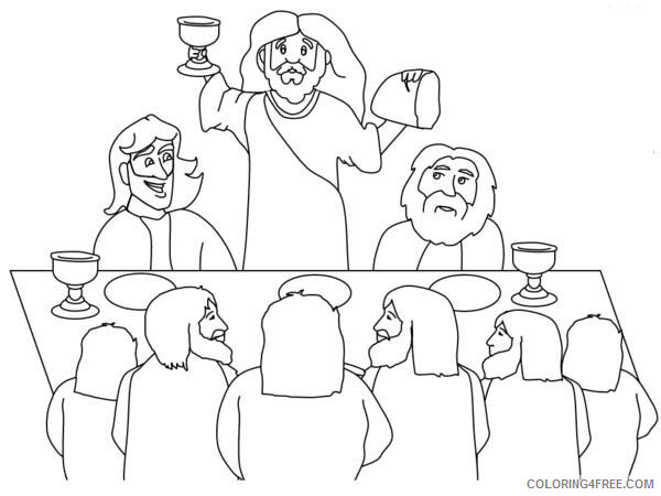 Jesus Coloring Pages Jesus Lift Bread and Holy Grail in Front of His Disciples Print 2021 Coloring4free