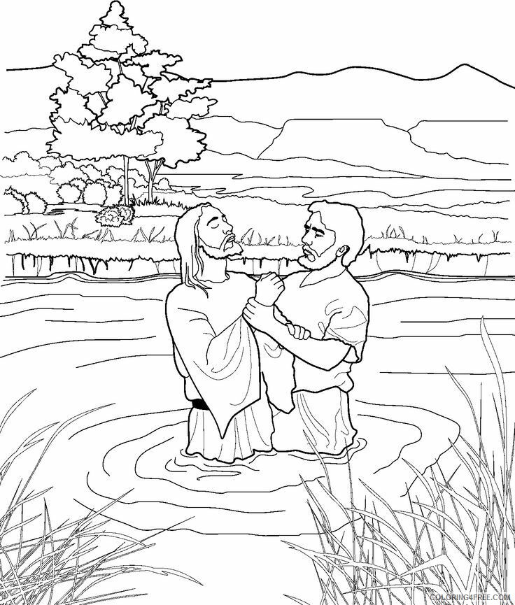 Jesus Coloring Pages John the Baptist and Jesus Printable 2021 3593 Coloring4free