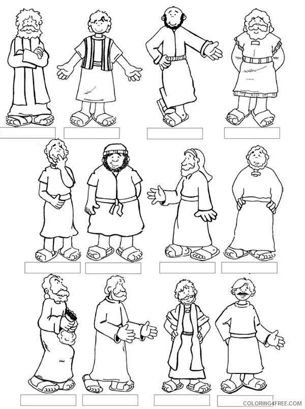 Jesus Coloring Pages Twelve Disciples of Jesus Printable 2021 3600 Coloring4free