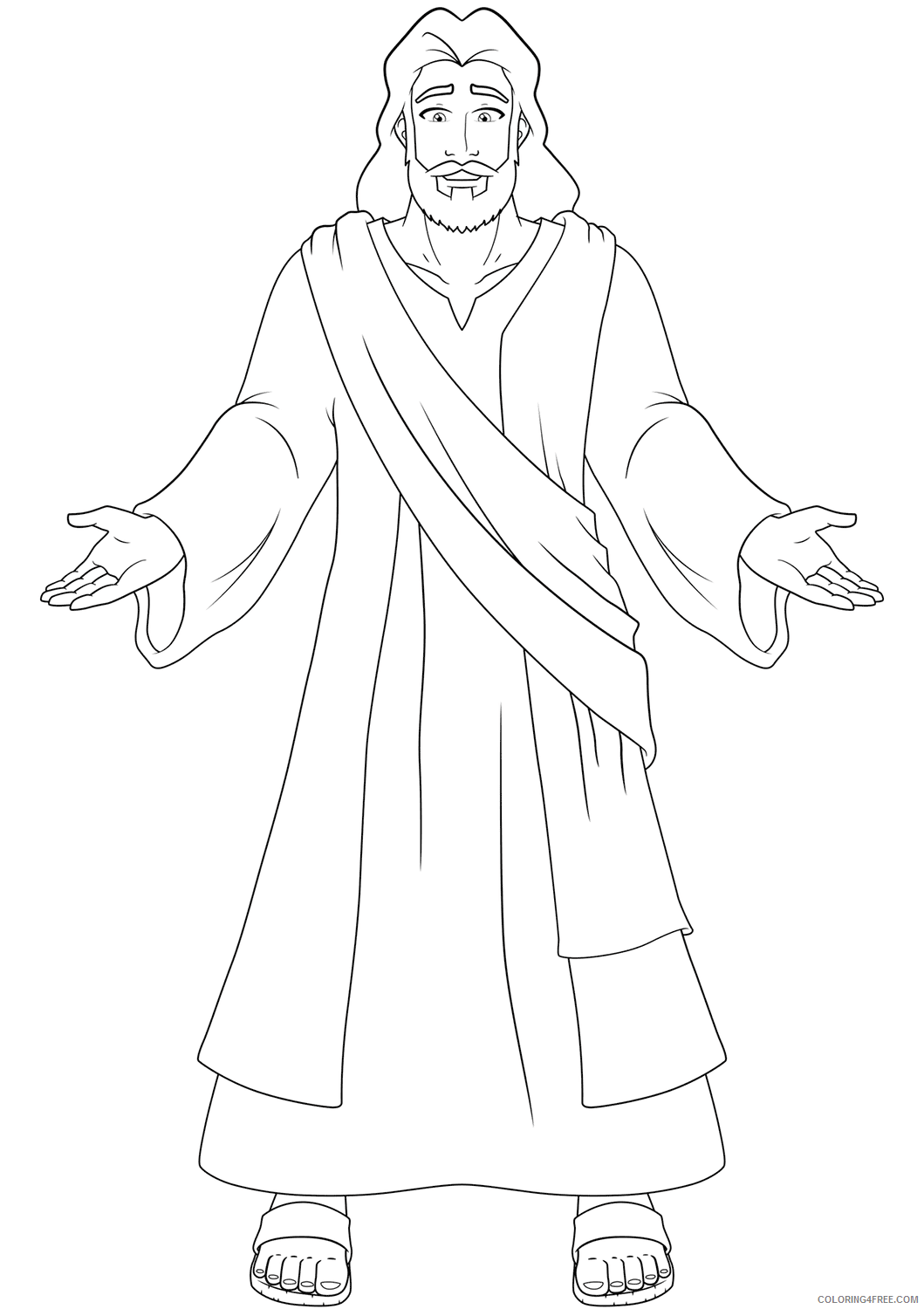 Jesus Coloring Pages jesus with open hands Printable 2021 3592 Coloring4free