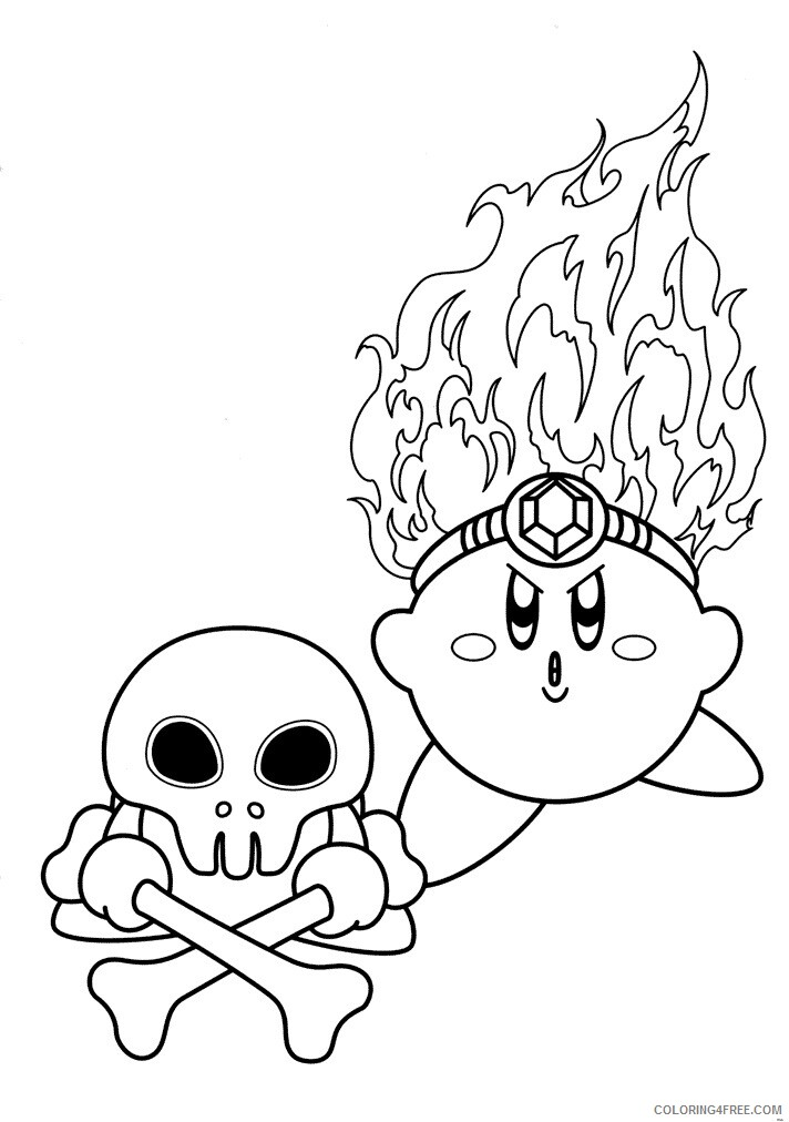 Kirby Coloring Pages Fire Kirby Printable 2021 3707 Coloring4free