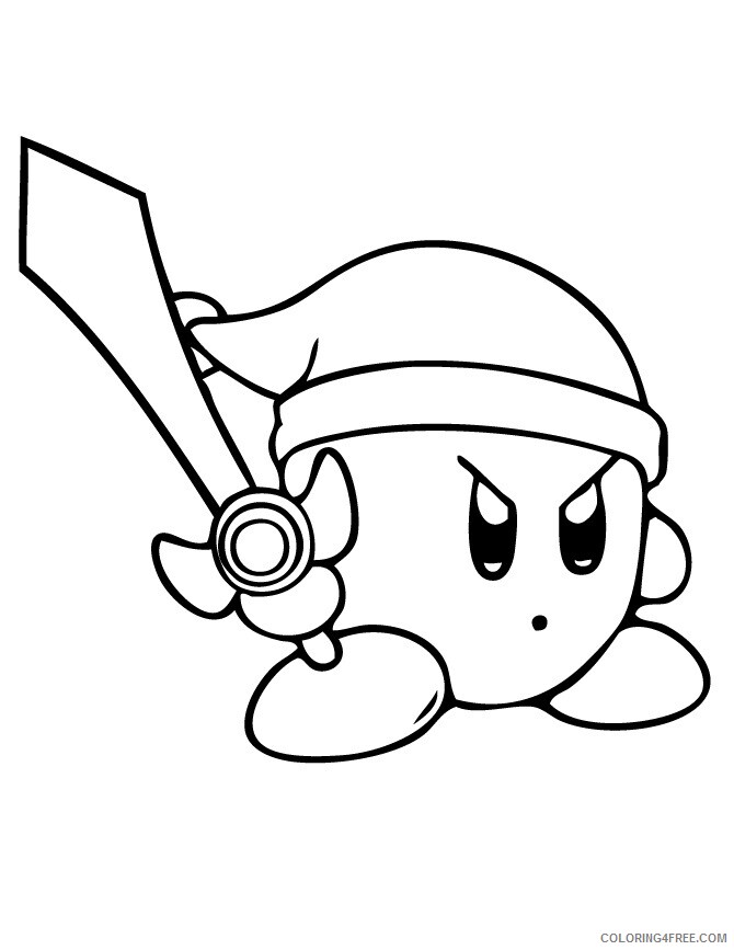 Kirby Coloring Pages Kirby Sword Printable 2021 3730 Coloring4free