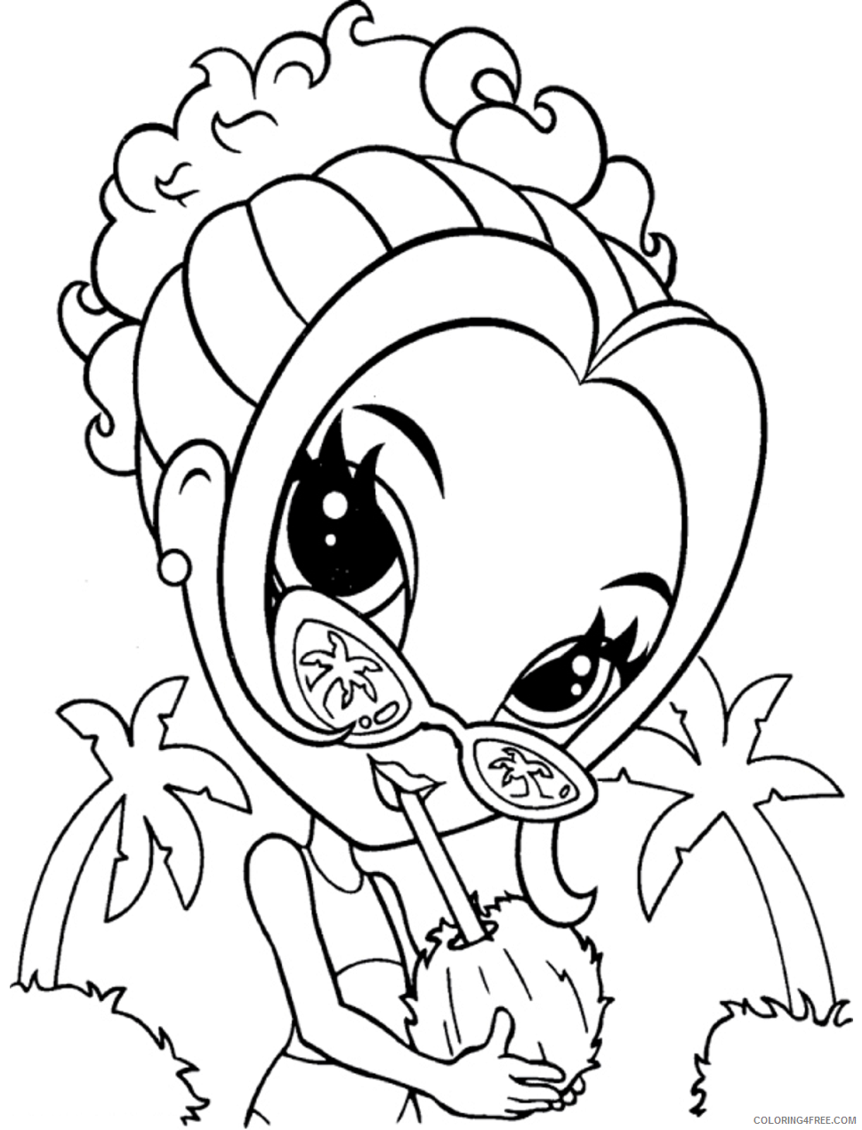 Lisa Frank Coloring Pages lisa_frank_girl_drinking_coconut_water Printable 2021 3861 Coloring4free
