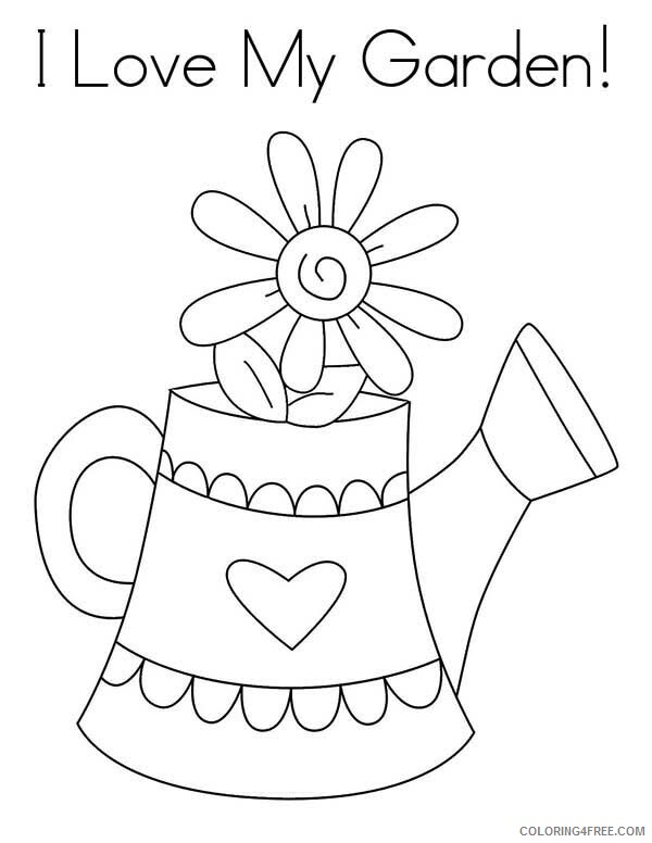 Love Coloring Pages I Love My Garden and Watering Can Printable 2021 3912 Coloring4free