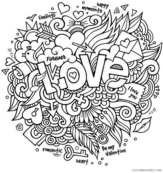 Love Coloring Pages Love Collage Valentines Day for Adults Printable 2021 3919 Coloring4free