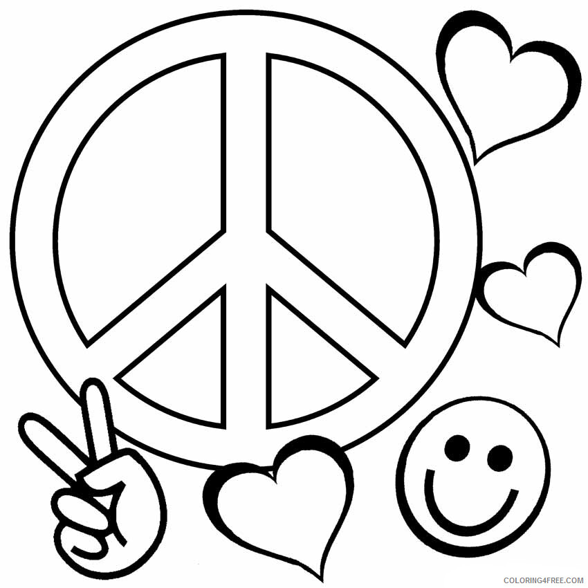 Love Coloring Pages Love and Peace Printable 2021 3917 Coloring4free