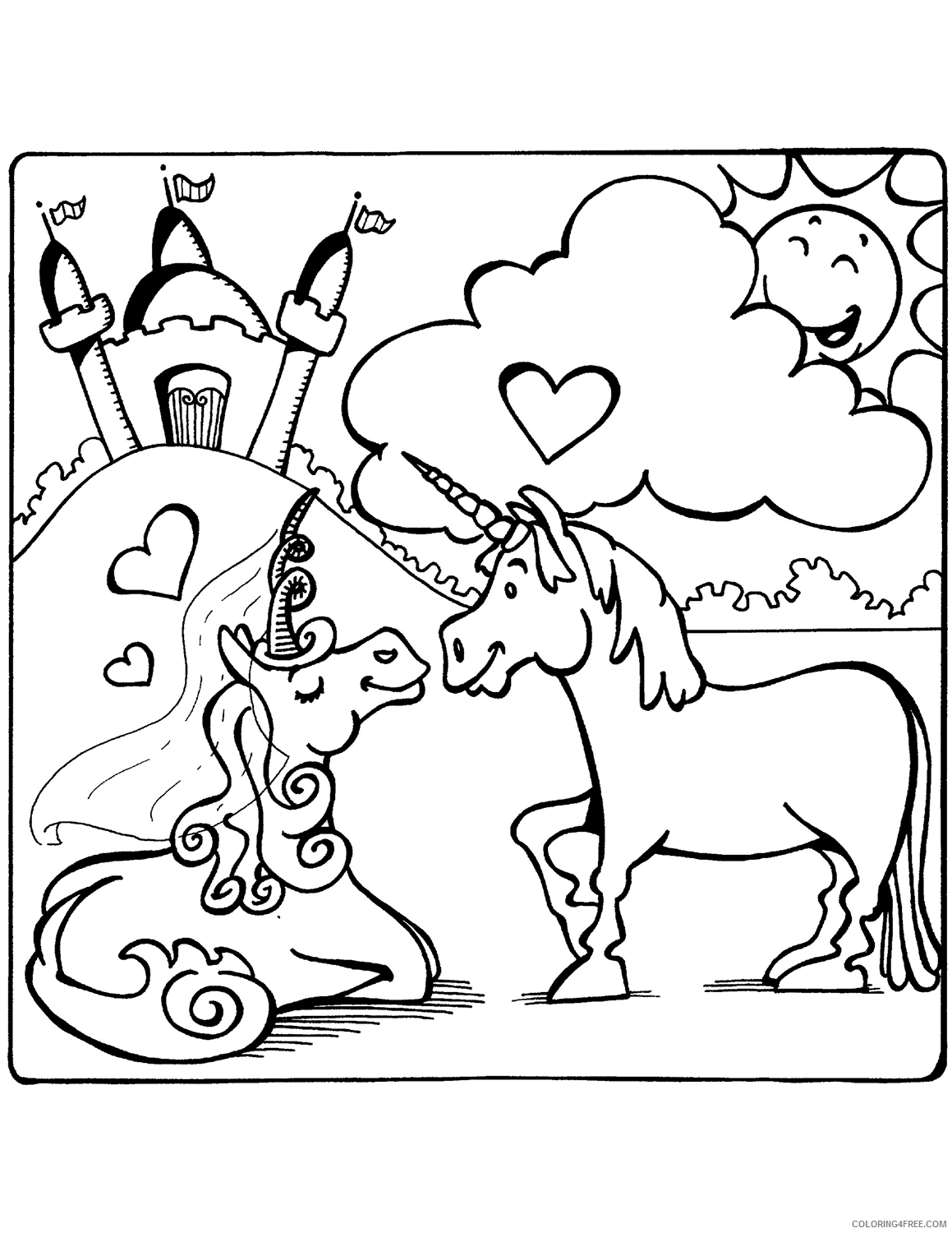 Love Coloring Pages Unicorn Love Printable 2021 3949 Coloring4free