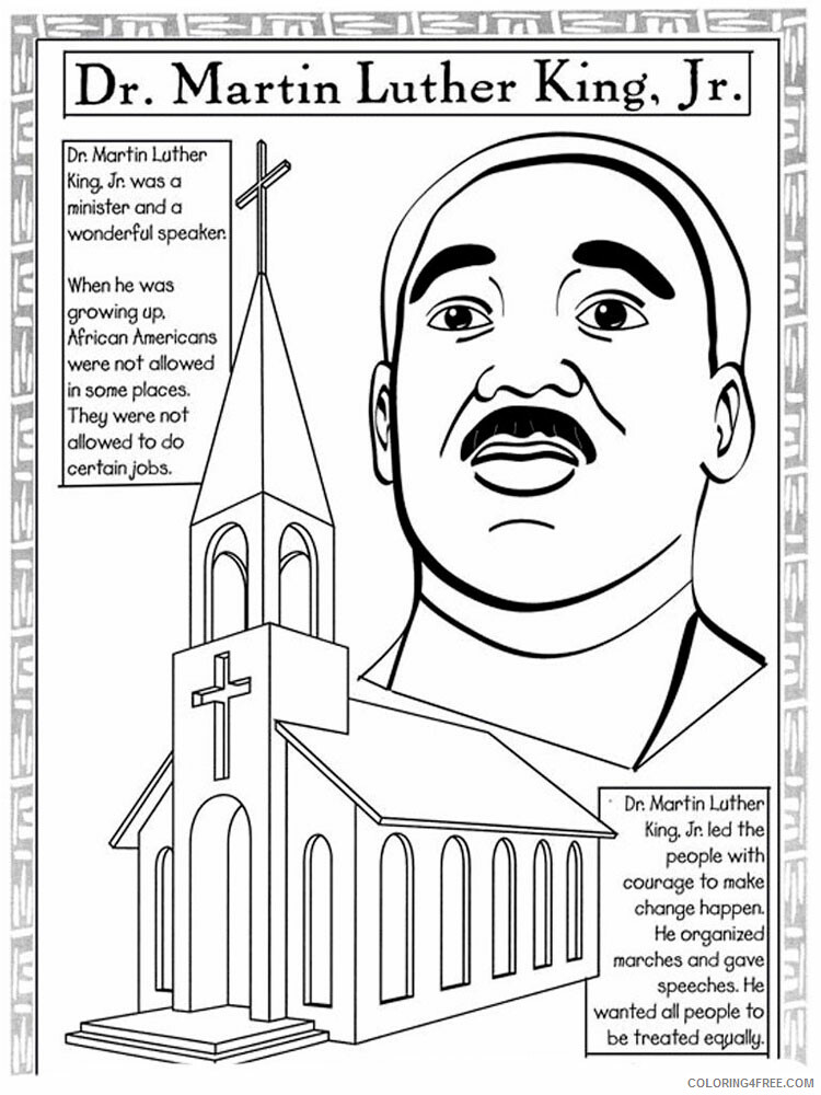 Martin Luther King Coloring Pages Martin Luther King 7 Printable 2021 3988  Coloring4free - Coloring4Free.com