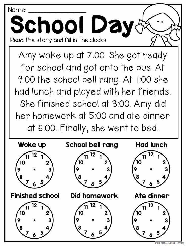 School Worksheet Coloring Pages 3rd Grade Worksheets School Day Story Print  2021 Coloring4free - Coloring4Free.com