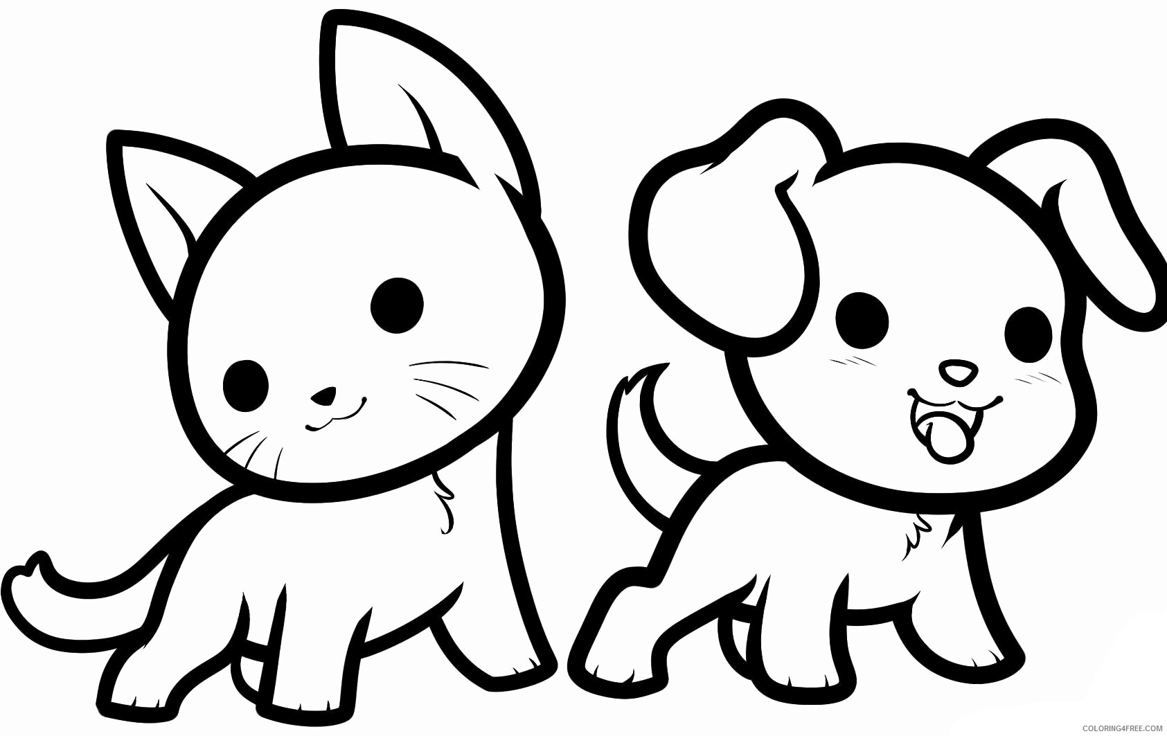 Cat Coloring Pages Animal Printable Sheets Cute Cat and Dog Animal ...