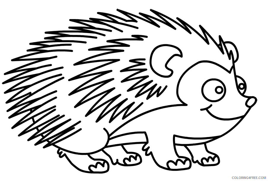 Hedgehog Coloring Pages Animal Printable Sheets Cartoon Hedgehog 2021 2622 Coloring4free