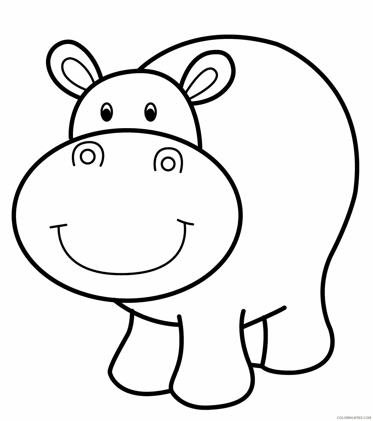 Hippopotamus Coloring Pages Animal Printable Sheets Hippo Free 2021 2701 Coloring4free