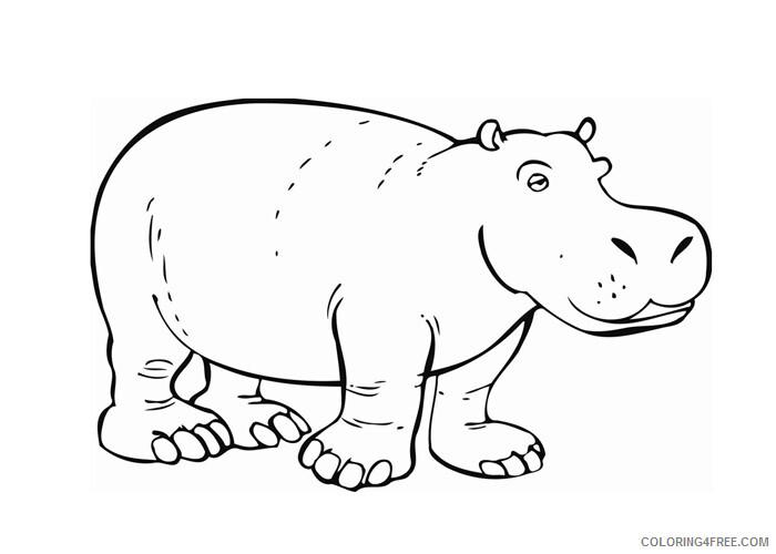 Hippopotamus Coloring Pages Animal Printable Sheets Hippopotamus 2021 2713 Coloring4free