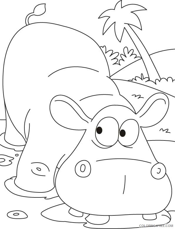 Hippopotamus Coloring Pages Animal Printable Sheets Hippopotamus 2021 2714 Coloring4free