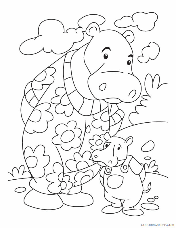 Hippopotamus Coloring Pages Animal Printable Sheets Printable Hippo 2021 2716 Coloring4free