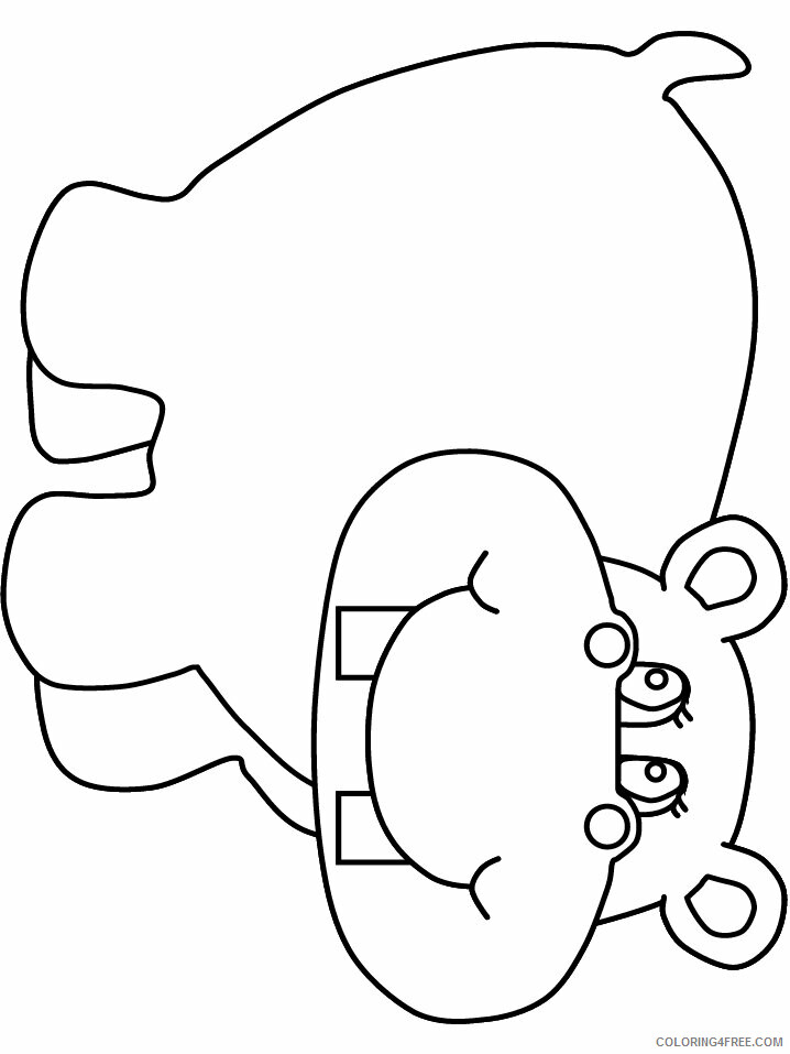 Hippopotamus Coloring Pages Animal Printable Sheets hippo2 2021 2691 Coloring4free