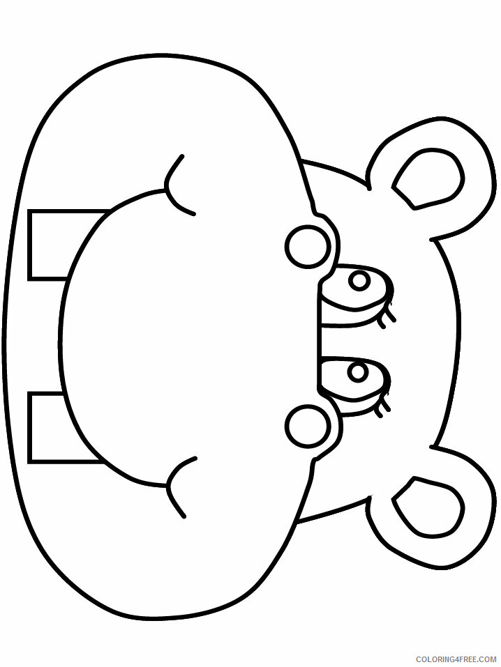 Hippopotamus Coloring Pages Animal Printable Sheets hippo3 2021 2693 Coloring4free