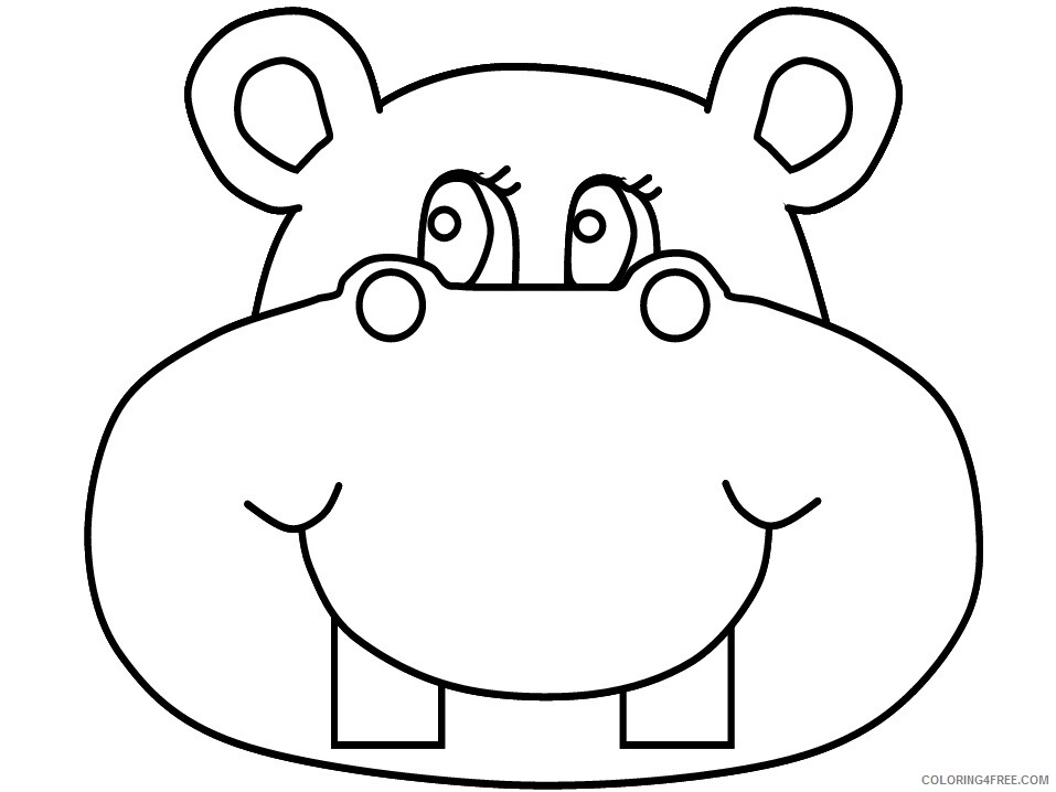 Hippopotamus Coloring Pages Animal Printable Sheets hippo3 2021 2694 Coloring4free