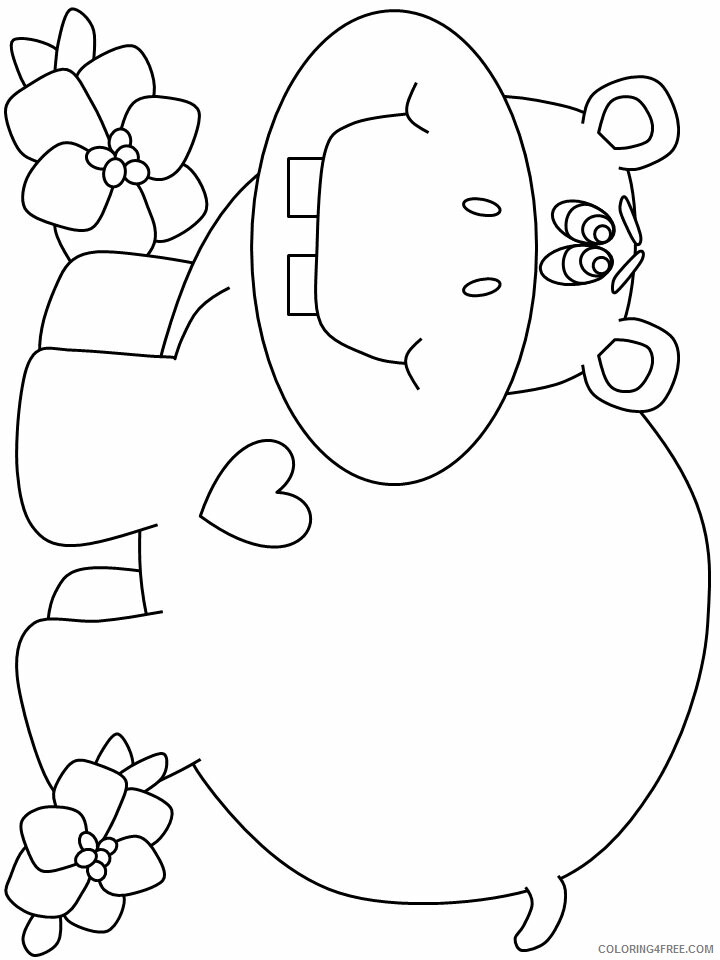 Hippopotamus Coloring Pages Animal Printable Sheets hippo7 2021 2698 Coloring4free