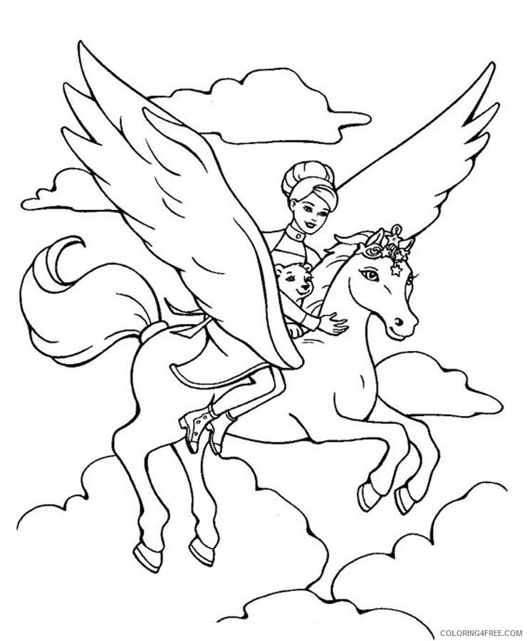 Horses Coloring Pages Animal Printable Sheets Flying Horse 2021 2746 Coloring4free
