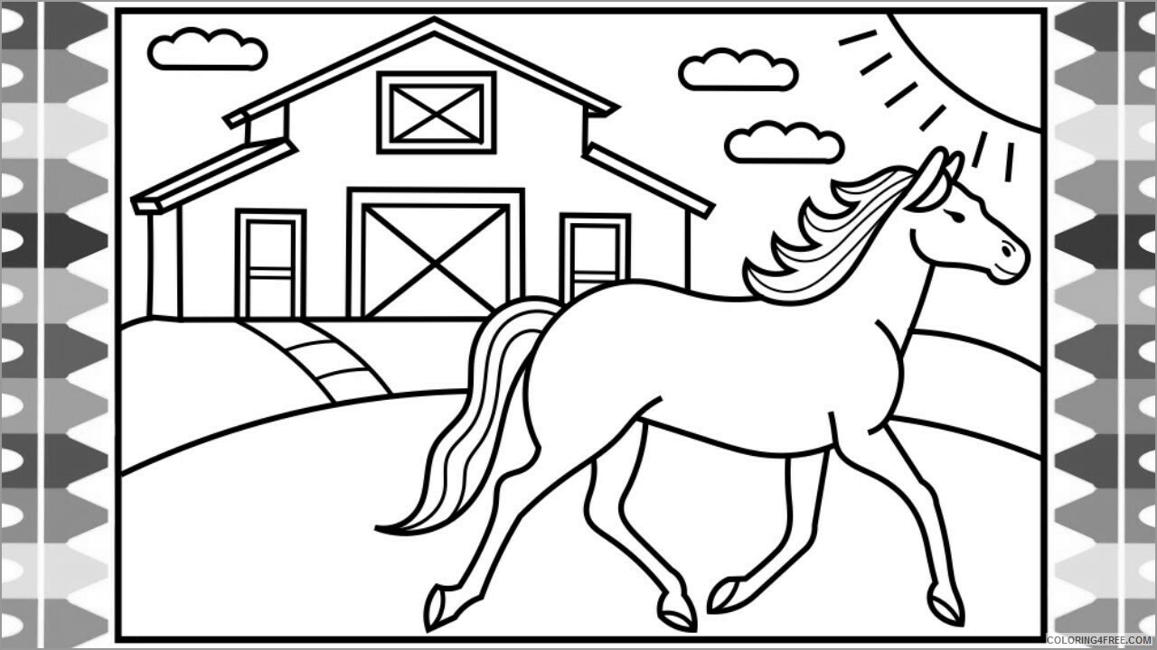 Horses Coloring Pages Animal Printable Sheets new horse easy picolour 2021 2802 Coloring4free
