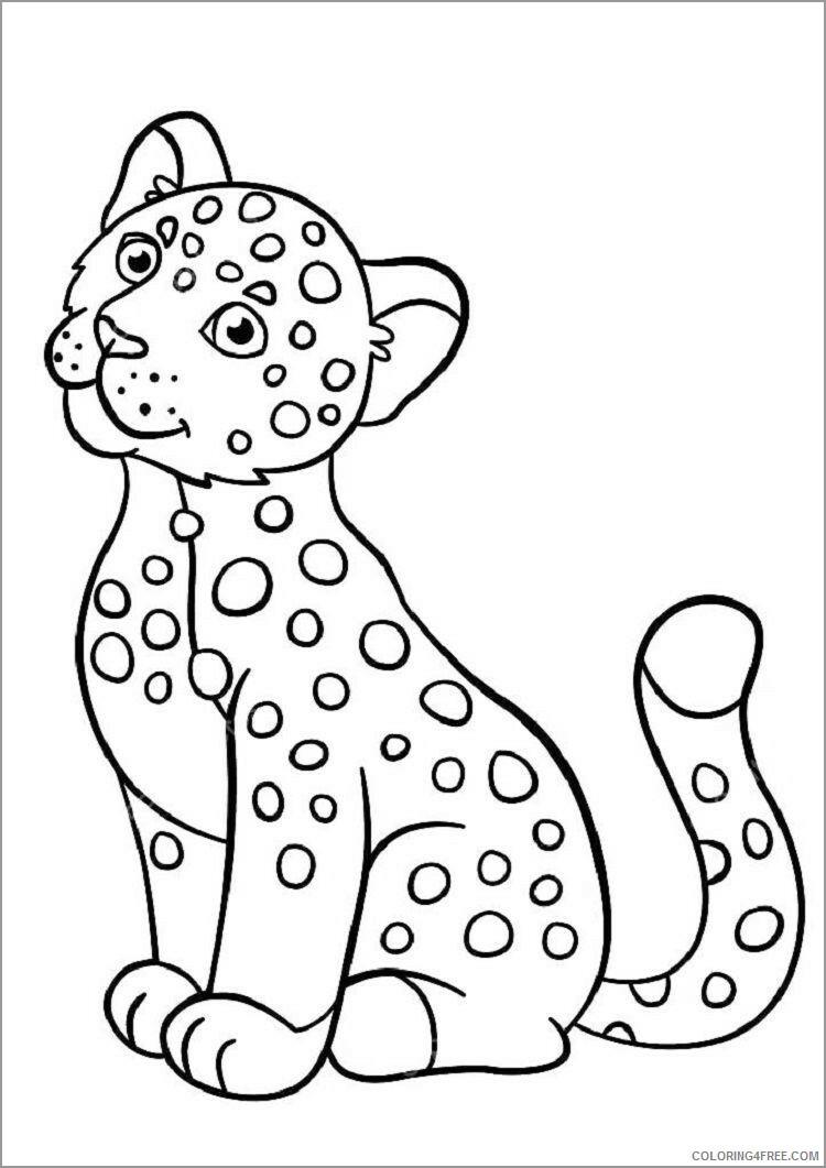 Jaguar Coloring Pages Animal Printable Sheets simple jaguar 2021 2915 Coloring4free