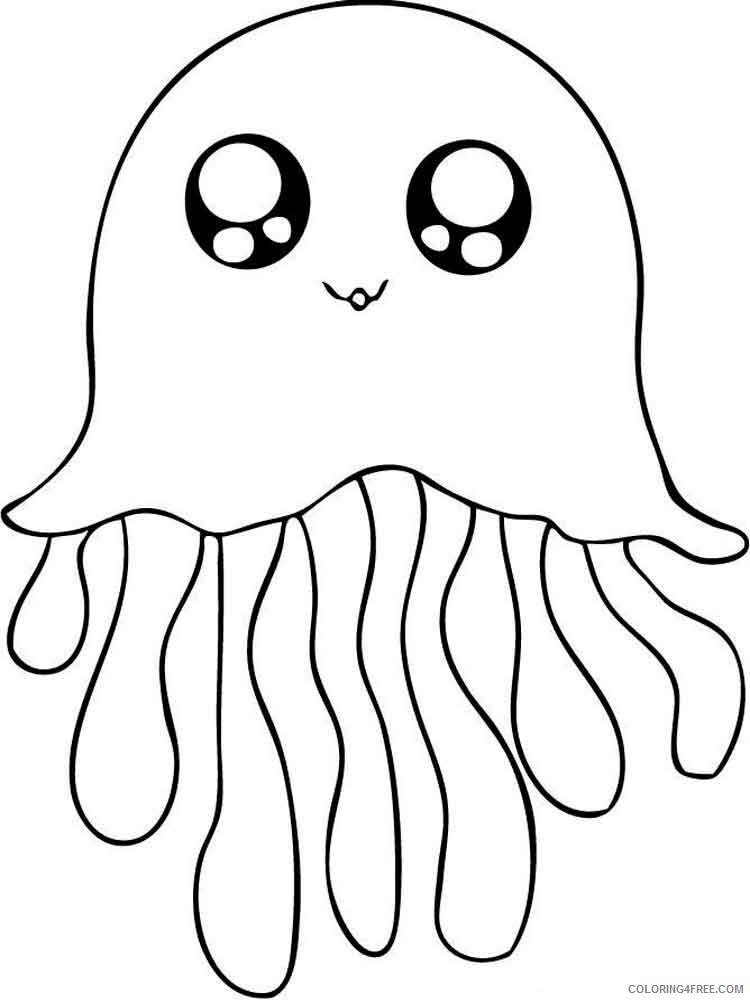 Jellyfish Coloring Pages Animal Printable Sheets Jellyfish 7 2021 2930 Coloring4free
