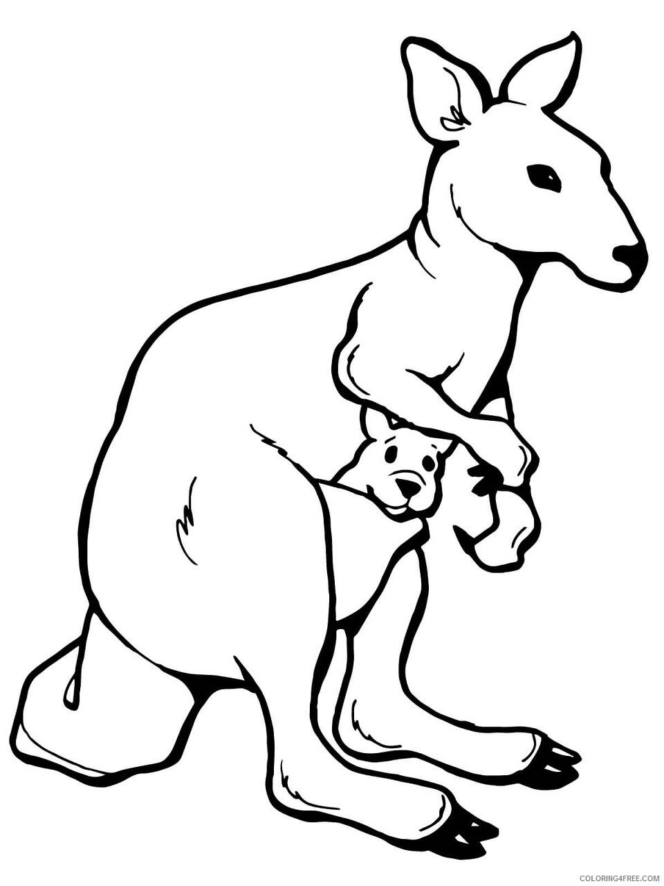 Kangaroo Coloring Pages Animal Printable Sheets kangaroo with a joey 2021 2959 Coloring4free