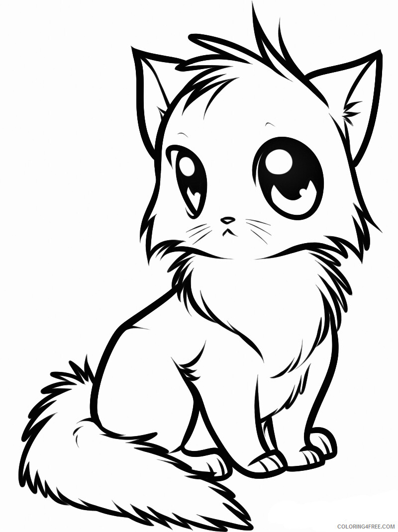 Kitten Coloring Pages Animal Printable Sheets Cute Kitten 2021 2972 Coloring4free