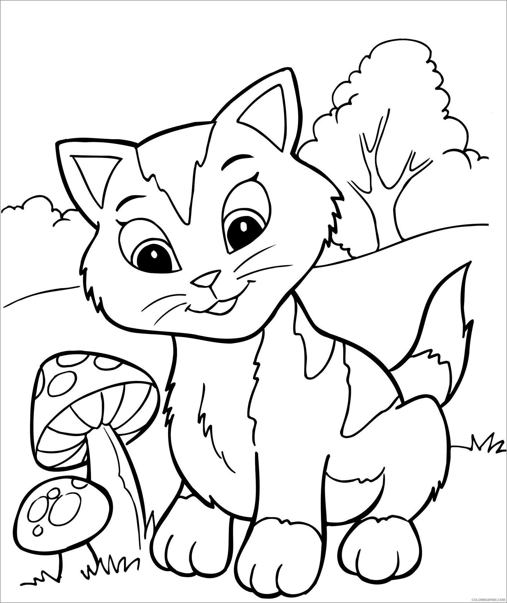 Kitten Coloring Pages Animal Printable Sheets cute kitten to print 2021 2974 Coloring4free