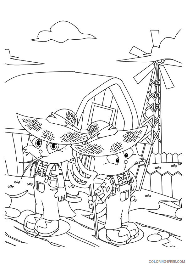 Kitty Coloring Pages Animal Printable Sheets the two kitties at their farm 2021 Coloring4free