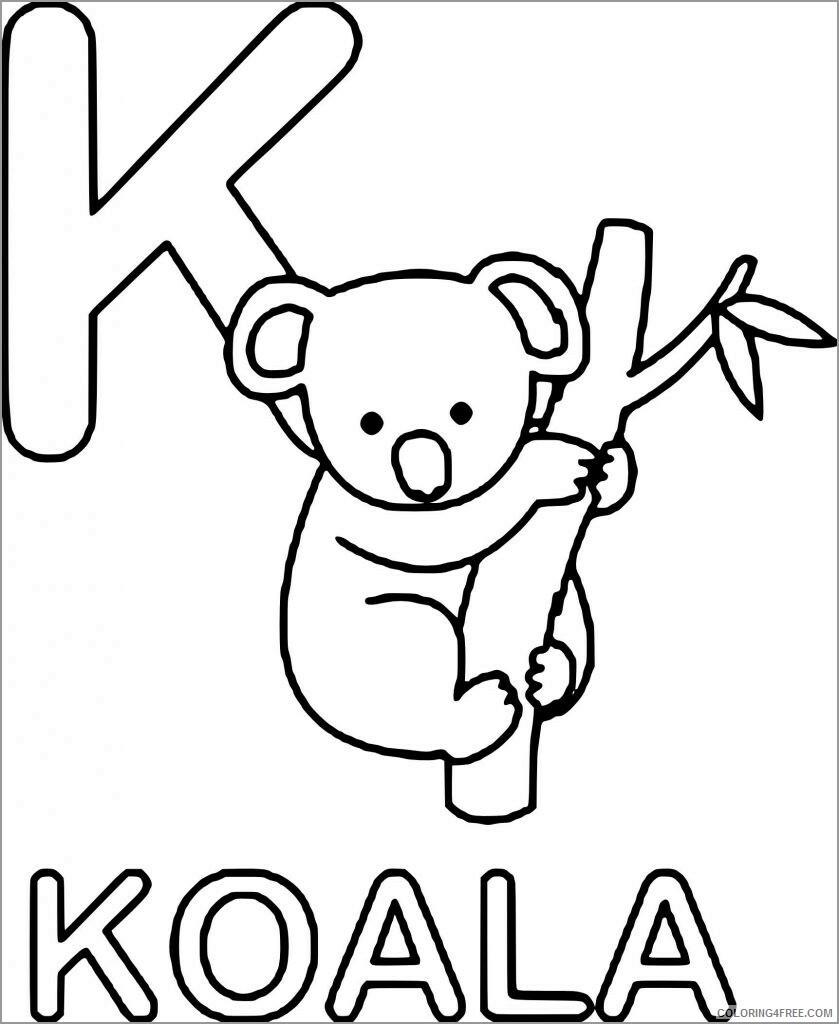 Koala Coloring Pages Animal Printable Sheets k is for koala 2021 3037 Coloring4free