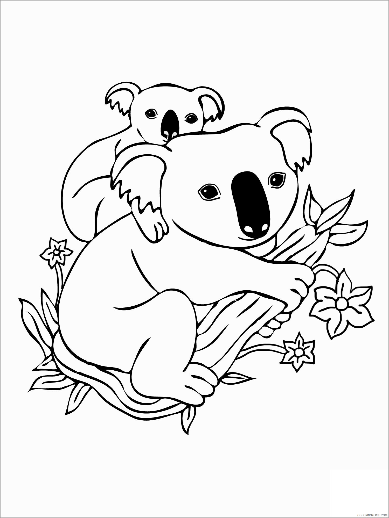 Koala Coloring Pages Animal Printable Sheets koala moms and baby 2021 3057 Coloring4free
