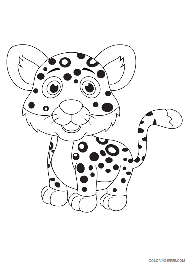 Leopard Coloring Pages Animal Printable Sheets funny leopard 2021 3136 Coloring4free