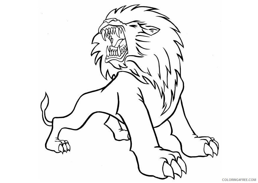 Lion Coloring Pages Animal Printable Sheets Roaring Lion 2021 3218 Coloring4free