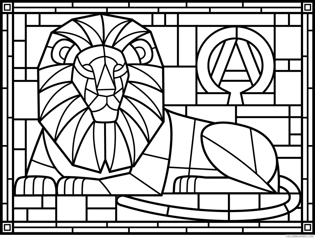 Lion Coloring Pages Animal Printable Sheets Stained Glass Lion 2021 3219 Coloring4free
