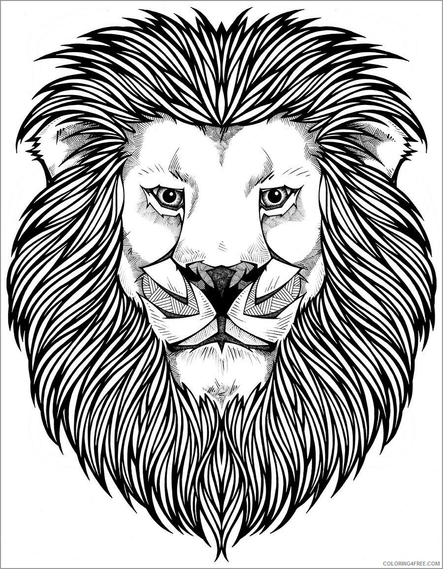 Lion Coloring Pages Animal Printable Sheets lion head 2021 3206 Coloring4free