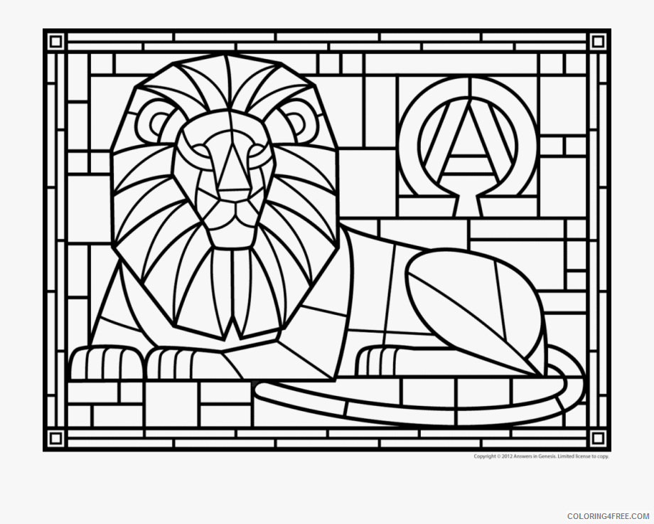 Lion Coloring Pages Animal Printable Sheets lion_stained_glass 2021 3175 Coloring4free