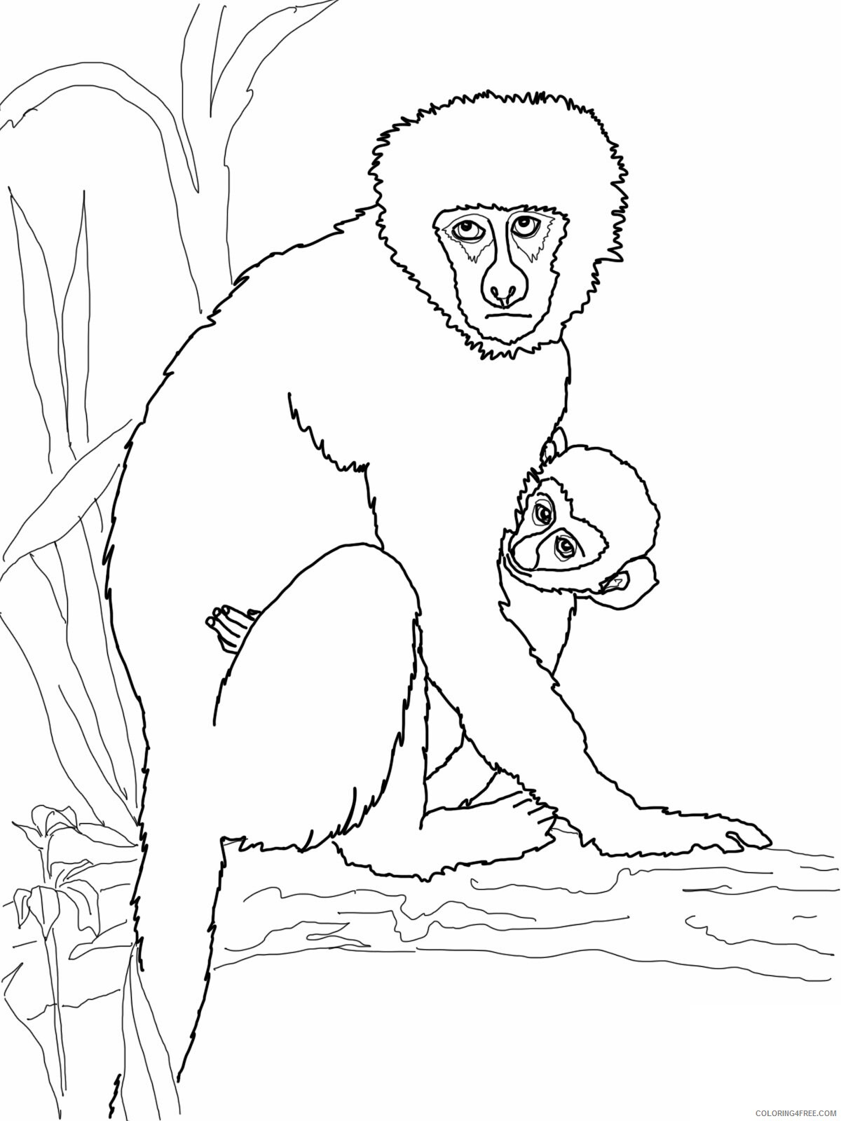 Monkey Coloring Pages Animal Printable Sheets Cute Monkeys 2021 3302 Coloring4free